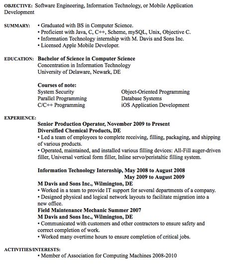 Software Engineering Resume Example Raymond S Cook IV Contact - information technology resume