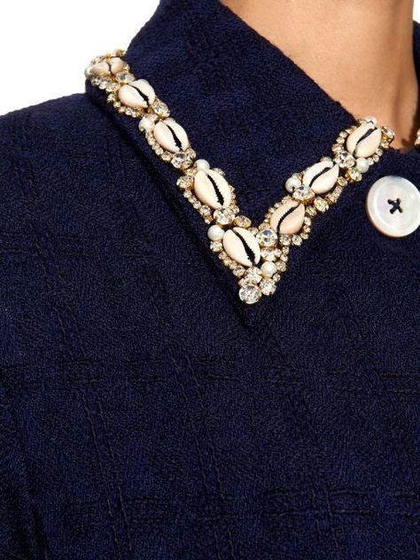 Embroidered-collar bouclé coat | Wales Bonner | MATCHESFASHION UK