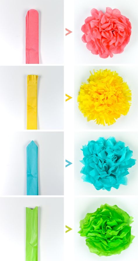 Crafts Tissue paper flowers make a gorgeous event decor with a big impact—think weddings, baby showers, bridal showers and more! Learn how to make easy tissue paper flowers, as well as different methods for cutting the petals to create four unique styles. Giant Paper Flowers, Diy Flowers, Tissue Paper Flowers Easy, How To Make Paper Flowers, Paper Flowers Wedding, Paper Flower Art, Flowers Decoration, Flowers From Tissue Paper, Paper Flower Making