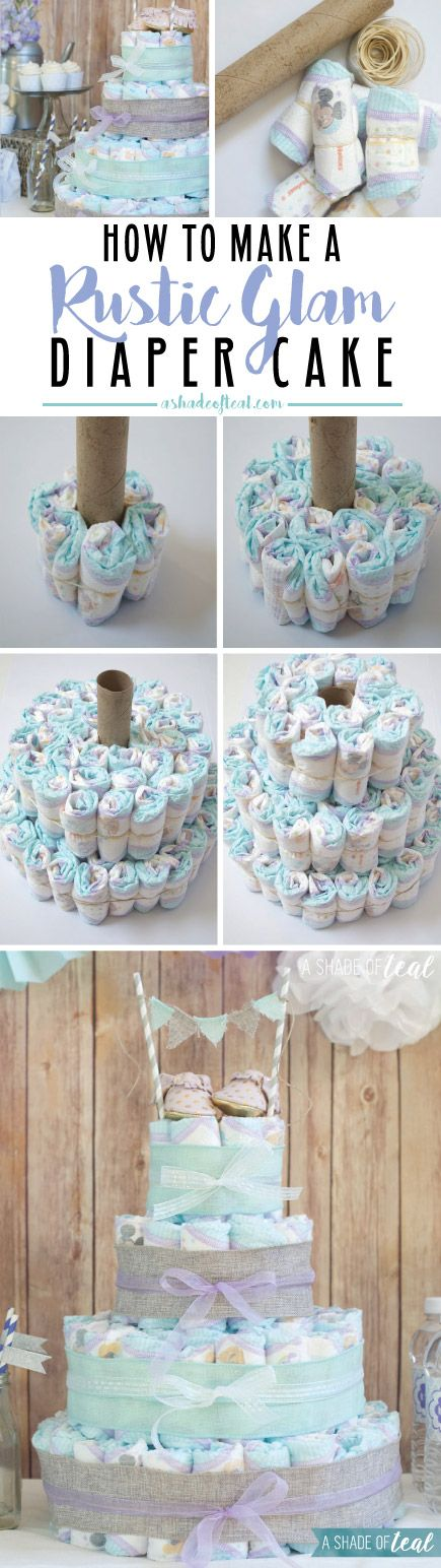 How to make a diaper cake. Also, a Rustic Glam Baby Shower with ton's of inspiration pics. Baby Shower, Baby Girl, lavender, aqua, purple. | A Shade Of Teal