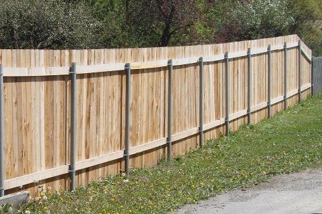 Wood Privacy Fence With 2 3 8 Round Posts Wood Privacy Fence Wood Fence Backyard