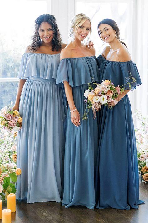 Country Wedding Groomsmen, Country Wedding Dresses, Barn Wedding Dress, Dusty Blue Bridesmaid Dresses, Mexican Bridesmaid Dresses, Bridesmaid Ideas, Wedding Bridesmaids, Try On, Chiffon Dress