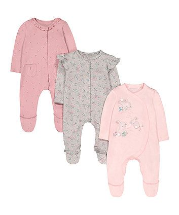 Mothercare Baby Girls Pink 3 Pack Sleep New Design Sleepsuit