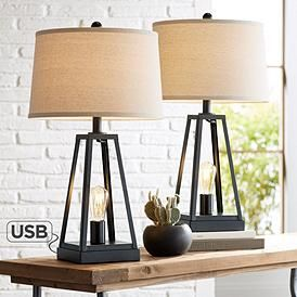 Kacey Metal Led Night Light Usb Table Lamps Set Of 2 In 2020 Rustic Table Lamps Farmhouse Table Lamps Industrial Table Lamp