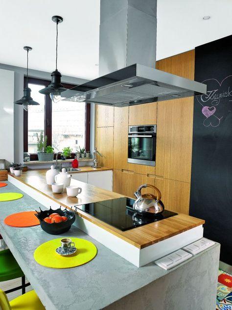Szafki Stojace Zostaly Obudowane Barkiem W Zbrojonej Betonowej Konstrukcji Zamiast Na Scianie Zamontowano Wlaczniki Z Zimnym Mat Kitchen Home Decor House