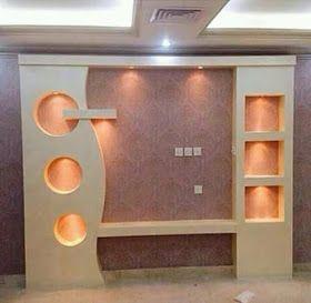 اشغال الجبس والديكور المنزلي ديكورات الجبس العصري المغربي Lcd Wall Design Tv Room Design Wall Tv Unit Design