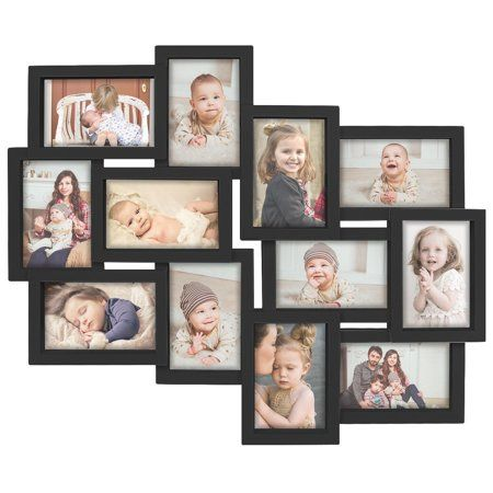 Adeco 12 Openings Decroative Wall Hanging Collage Picture Frame Made To Display Twelve 4x6 Photos Black