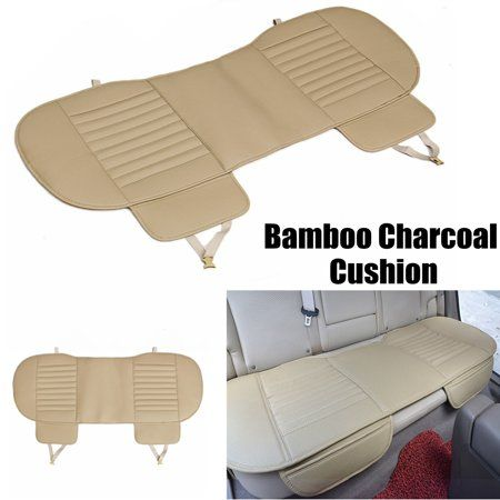 Beige Universal Car Breathable PU Leather Rear Back Seat Cover Chair Cushion UK