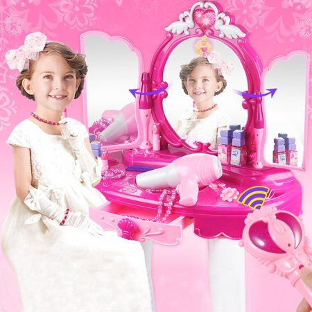 Princess Vanity Girl S Children S Pretend Play Crown Dressing Table Battery Operated Toy Beauty M Dressing Table With Stool Mirrored Vanity Table Beauty Mirror