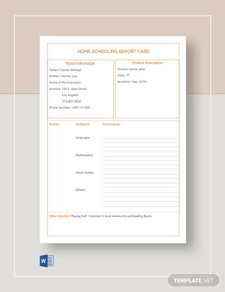 Home Schooling Report Card Template Word Doc