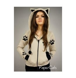 Cat hoodie Ears kitty paws kawaii beige by PaperCatsPL on Etsy - 2019