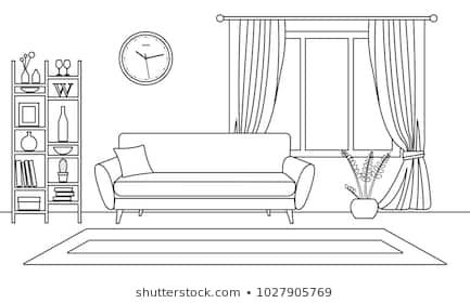 Living Room Interior Outline Sketch Line Style Interior Design With Window And Furnitur Interior Design Sketches Interior Design Drawings Living Room Interior