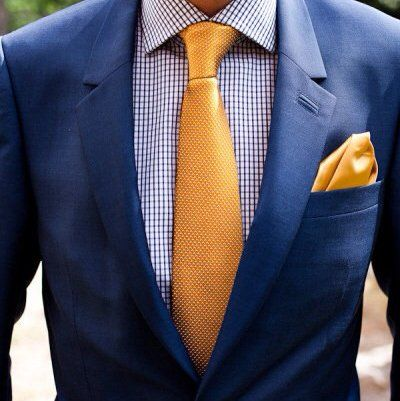 gold tie and handkerchief (I want paisley), navy blue suit ...