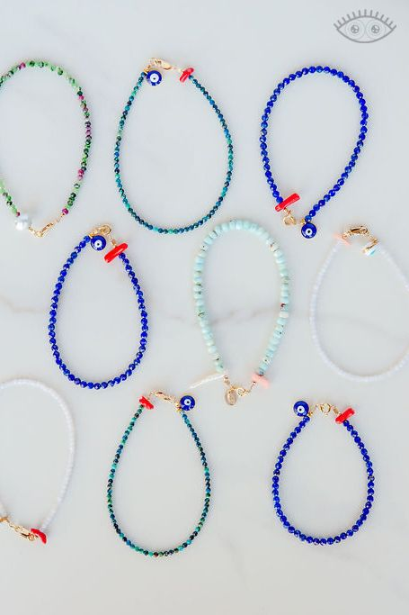 Handmade stone bracelets by Carrie Marill, with lapis lazuli, chalcedony, ruby zoisite and more. #punkwasp #handmadejewelry #evileye