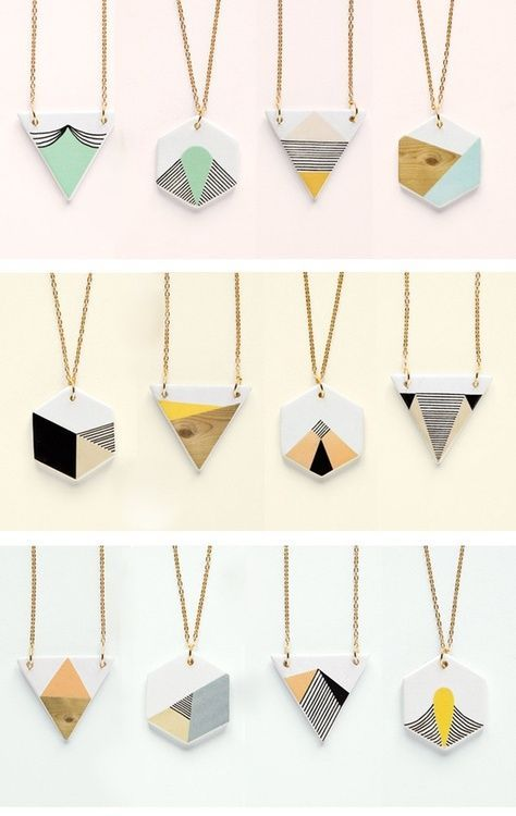 DIY: Geometric necklace pendants (link not found, could be using shrink plastic? Oh the lovely things: Geometry is fun! DIY necklace and pentants I'm thinking DIY with paint chips.