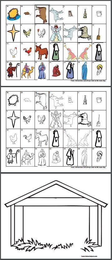 Printable Advent Calendar Nativity Scene Animals Stable