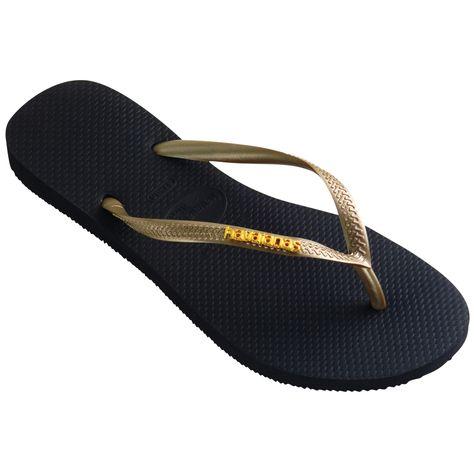 6e0984a70dd6 Havaianas Slim Logo Metallic Black Light Golden Flip Flops  UKKolours