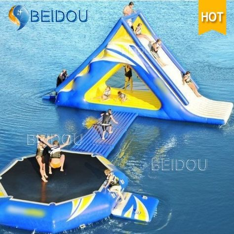 Inflatable water slide with trampoline, for water park sports game Trampolines, Water Trampoline, My Pool, Floating In Water, Water Slides, Cool Pools, Awesome Pools, Outdoor Fun, Cool Stuff