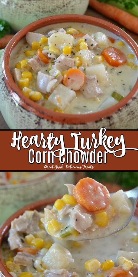 Turkey Corn Chowder is a delicious and easy turkey recipe loaded with leftover turkey, vegetables and seasoned perfectly.Hearty Turkey Corn Chowder is a delicious and easy turkey recipe loaded with leftover turkey, vegetables and seasoned perfectly. Easy Leftover Turkey Recipes, Leftover Turkey Soup, Leftovers Recipes, Turkey Stew, Cooked Turkey Recipes, Turkey Leftovers, Cream Of Turkey Soup, Slow Cooker Turkey Soup, Homemade Turkey Soup