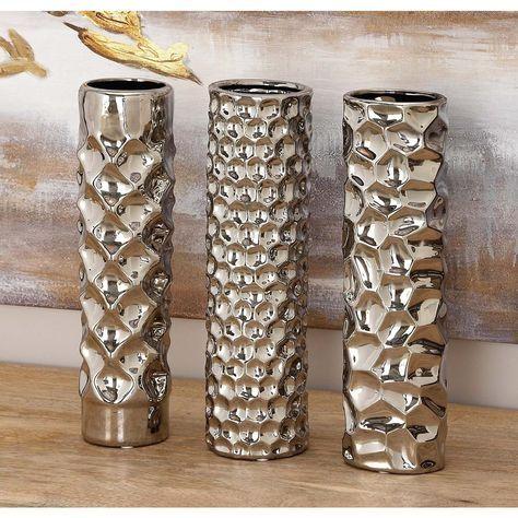 Litton Lane 12 In Textured Metallic Ceramic Decorative Vase Set Of 3 92550 The Home Depot Vases Decor Tall Vase Decor Large Ceramic Vase