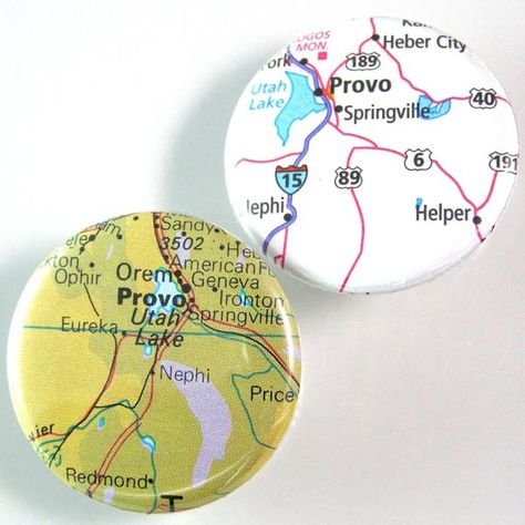 Provo Utah Map Pinback Button Set By Xohandworks Com 3 Full Time