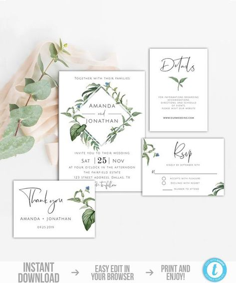 photo regarding Printable Invitation Kit identified as Greenery Marriage ceremony Invitation Mounted Template, Botanical Wedding day