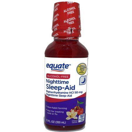 Equate Alcohol Free Cherry Vanilla Flavor Nighttime Sleep Aid Liquid Diphenhydramine Hcl 50 Mg 12 Fl Oz Walmart Com Vanilla Flavoring Nighttime Sleep Aid Alcohol Free