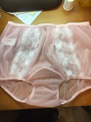 PINK DOUBLE LAYER SHEER NYLON PANTY DOUBLE GUSSET PINK Satin trim LACE sz 9