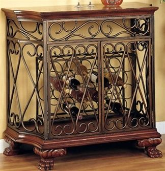 Wrought Iron Wooden Wine Rack Cabinet Buffet Bar Table For The