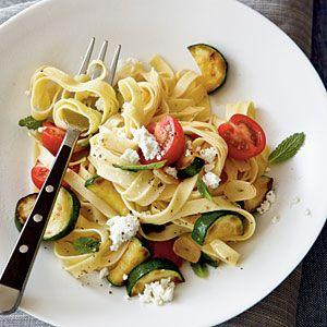 zucchini, cherry tomato, and fresh ricotta pasta