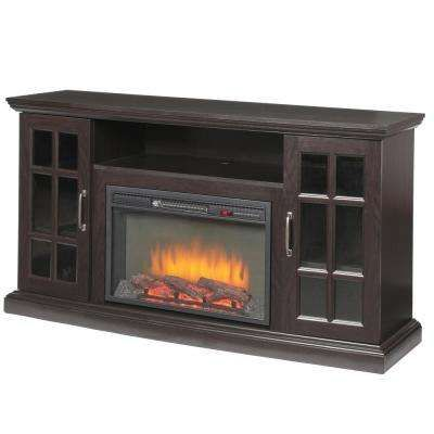 Edenfield 59 In Freestanding Infrared Electric Fireplace Tv Stand In Espresso Fireplace Tv Stand Fireplace Tv Electric Fireplace Tv Stand