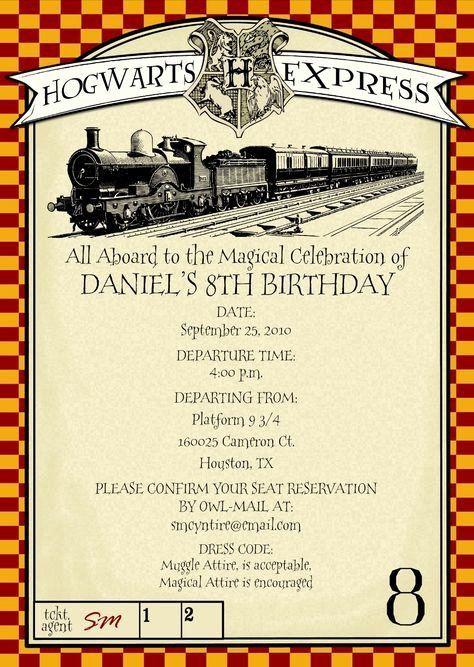 harry potter birthday invitation unique