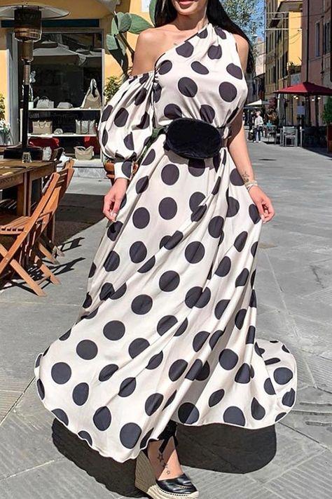 Patchwork Long Sleeve Ankle-Length Lantern Sleeve Standard-Waist Women's Dress