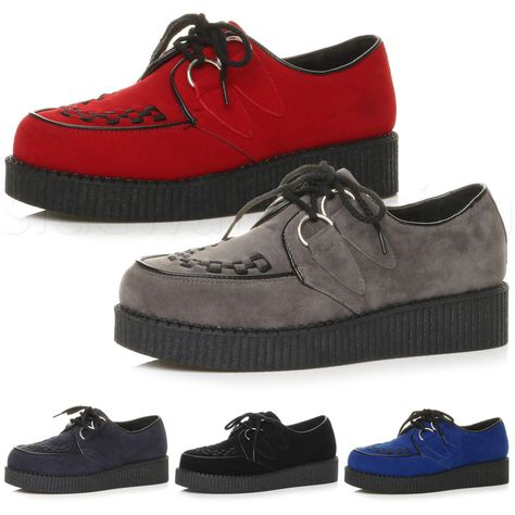 e375fd76d79 Mens lace up grunge goth punk rockabilly brothel creepers teddy boy shoes  size