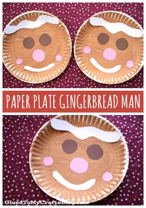 Christmas Paper Plate Gingerbread Man - Kid Craft Idea