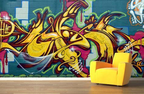 Yellow Street Art Wall Mural   Murawall   Installation   Pinterest ...