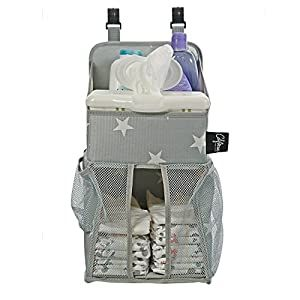 Playard Diaper Caddy And Nursery Organizer For Newborn Baby Essentials Star Pattern Grey White Baby Accessory Organizer By California Home Goods Crib Bed In 2020 Baby Essentials Newborn Diaper
