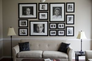 cute black and white pictures of us on the wall with the white frame