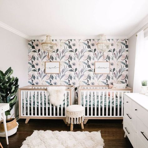 Shared sibling nursery for a baby and a toddler. Such a sweet and lovely space! image by Don't forget to check out our Nursery Style Event Sale (running through Monday! You can also see what was trending in nursery design this week below! Nursery Twins, Baby Nursery Decor, Project Nursery, Baby Decor, Nursery Room, Small Twin Nursery, Accent Wall Nursery, Baby Nursery Ideas For Girl, Cheap Nursery Ideas