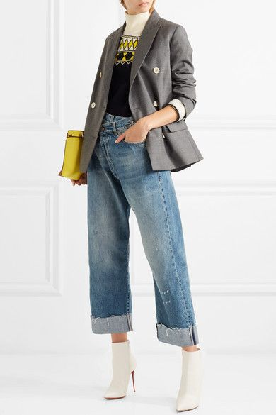 Ongekend R13 | Crossover asymmetric distressed high-rise wide-leg jeans TZ-56