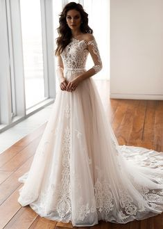 Dazzling Tulle One Shoulder Neckline A-Line Wedding Dresses With Lace Appliques & Belt