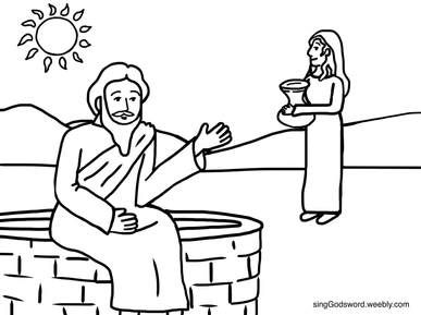 Free Coloring Sheet Of Jesus And The Samaritan Woman At The Well