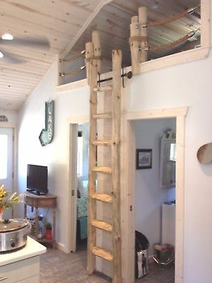 Custom Rustic Pine Loft Library Ladder Half Log Cabin Attic Wood Wooden Hardware Loft Ladder Tiny House Design Cabin Loft