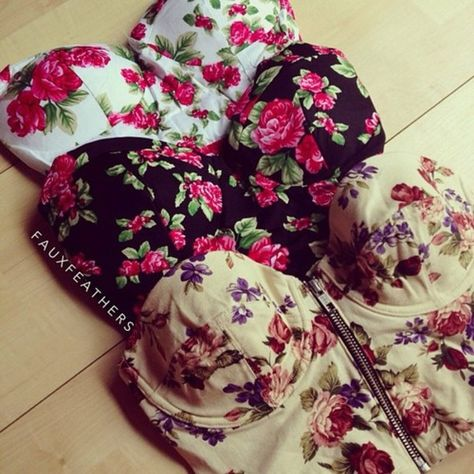 floral crop tops- great for tops with sheer panels or add fabric at hem to make peplum! ;-)
