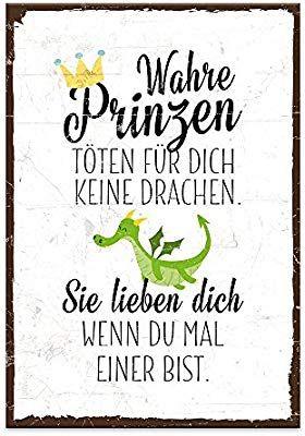 Typestoff Holzschild Mit Spruch Wahre Prinzen Toten Fur Dich Keine Drachen Im Vintage Look Mit Zitat Als Geschenk U Spruche Hochzeit Spruche Spruche Zitate