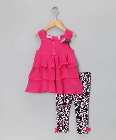 Take a look at this Hot Pink Tiered Tunic & Leggings - Toddler & Girls by Kids Headquarters on #zulily today!
