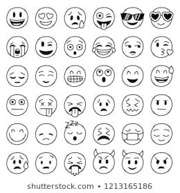 Big Collection Of Hand Drawn Vector Funny Emoticons 이모티콘