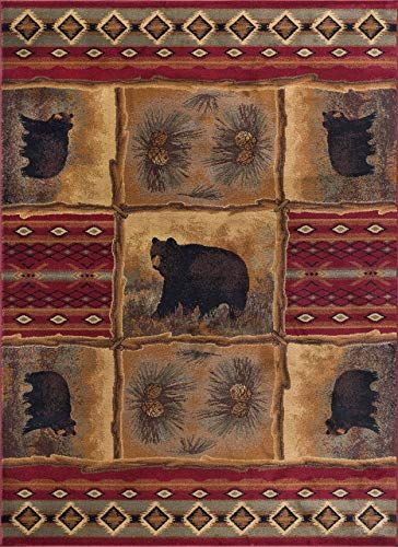 New Sierra Bear Novelty Lodge Pattern Red Rectangle Area Rug 8 X