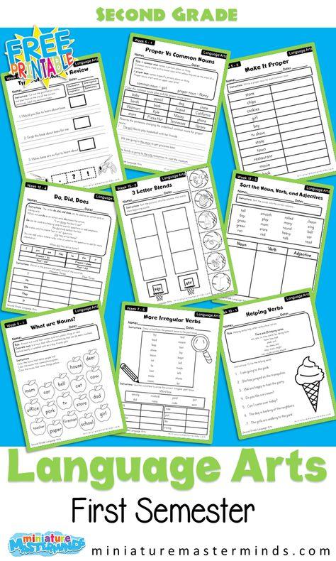 Second Grade Language Arts First Semester 18 Weeks Workbook Free Printable