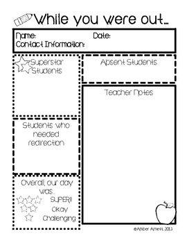 English worksheets: Substitute Teacher Information sheet
